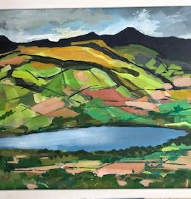 Maggie-Banks-Art-Painting-Mixed-Media-Board-Brecon-mountains-&-Llangarron-lake-Full-Image