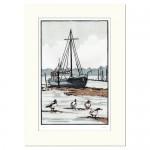 Shelducks+Suffolk+Mounted-Fiona carver-Linocut print-limited edition print-WYCHWOOD ART