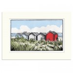 Suffolk Beach Huts – Fiona Carver – Limited edition print – Linocut Print – Wychood art