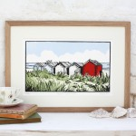 Suffolk Beach Huts - Fiona Carver - Limited edition print - Linocut Print - Wychood art 2