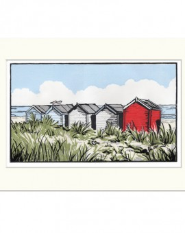 Suffolk Beach Huts - Fiona Carver - Limited edition print - Linocut Print - Wychood art