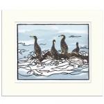 Watchign the waves-Fiona Carver-Linocut print-Wychwood art 1