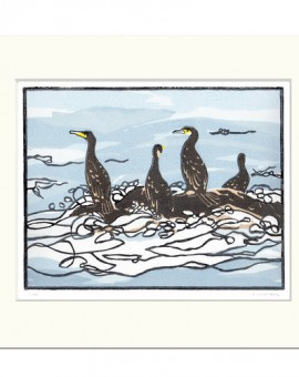 Watchign the waves-Fiona Carver-Linocut print-Wychwood art 1