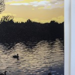 Limited Edition Alexandra Buckle Linocut Print, Golden Sunset, Brackley Lake, Landscape Art
