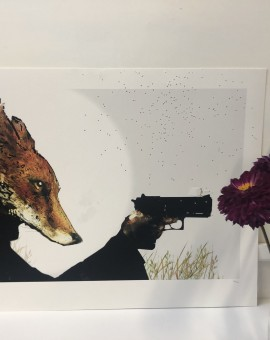 Harry Bunce's mixed media screenprint Rural Resistance Field commander is typical of his witty style, portraying a fox holding a pistol.