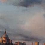 Alex Rennie, Sundown on Southbank, Original Oil Painting, London Art, Cityscape Painting