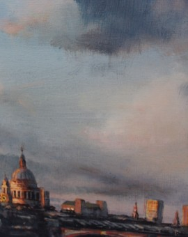 Alex Rennie, Sundown on Southbank, Original Oil Painting, London Art, Cityscape Painting