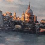 Alex Rennie, Sundown on Southbank, Original Oil Painting, London Art, Cityscape Painting 2