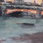 Alex Rennie, Sundown on Southbank, Original Oil Painting, London Art, Cityscape Painting 4