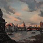 Sundown, Southbank   40 x 40 cm   Oil on Linen   £1500