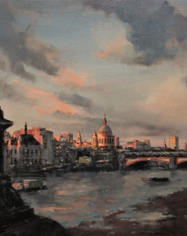 Sundown, Southbank   40 x 40 cm   Oil on Linen   £1500