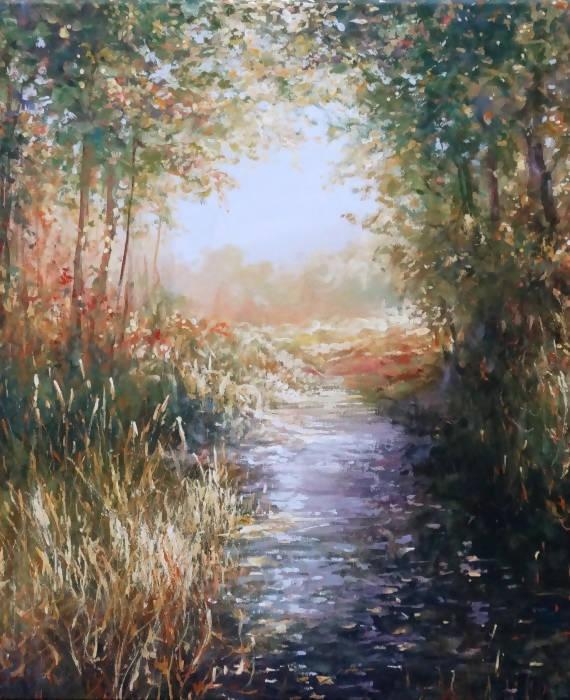 Mariusz Kaldowski forest stream affordable painting