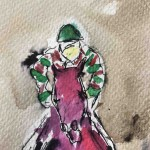 Garth Bayley.Horse racing art.2.close up