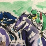Garth Bayley.Horse racing art.3.close up