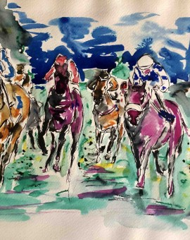 Garth Bayley.Horse racing art.5