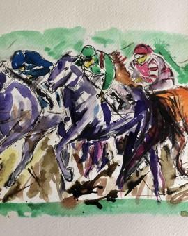 Garth Bayley.horse racing art.3.