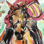 Garth bayley.Horse racing art. 6.close up