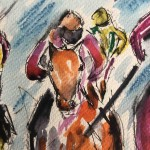 GarthBayley.Horse racing art. 1. close up