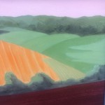 Original Christo Sharpe Painting, Early Morning Over Weald of Kent, Abstract Landscape of the Garden of England