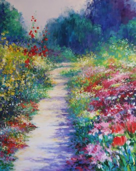 Mary Chaplin, A sunny path at Monet's garden in Giverny Wychwood Art