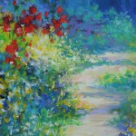 Mary Chaplin, A sunny path at Monet's garden in Giverny detail Wychwood Art