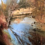 Original Claire Wiltsher Painting, Reflecting the Surface II, Abstract Landscape Art for Sale