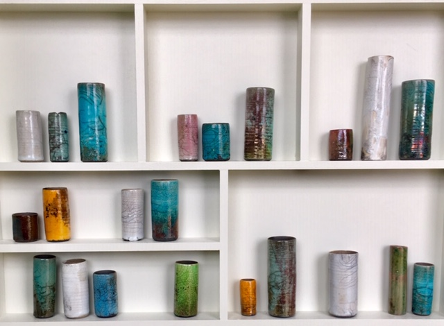 Emma Bell's Multicoloured Raku as pictured in close ups so as to appreciate the finer detail of this contemporary piece.