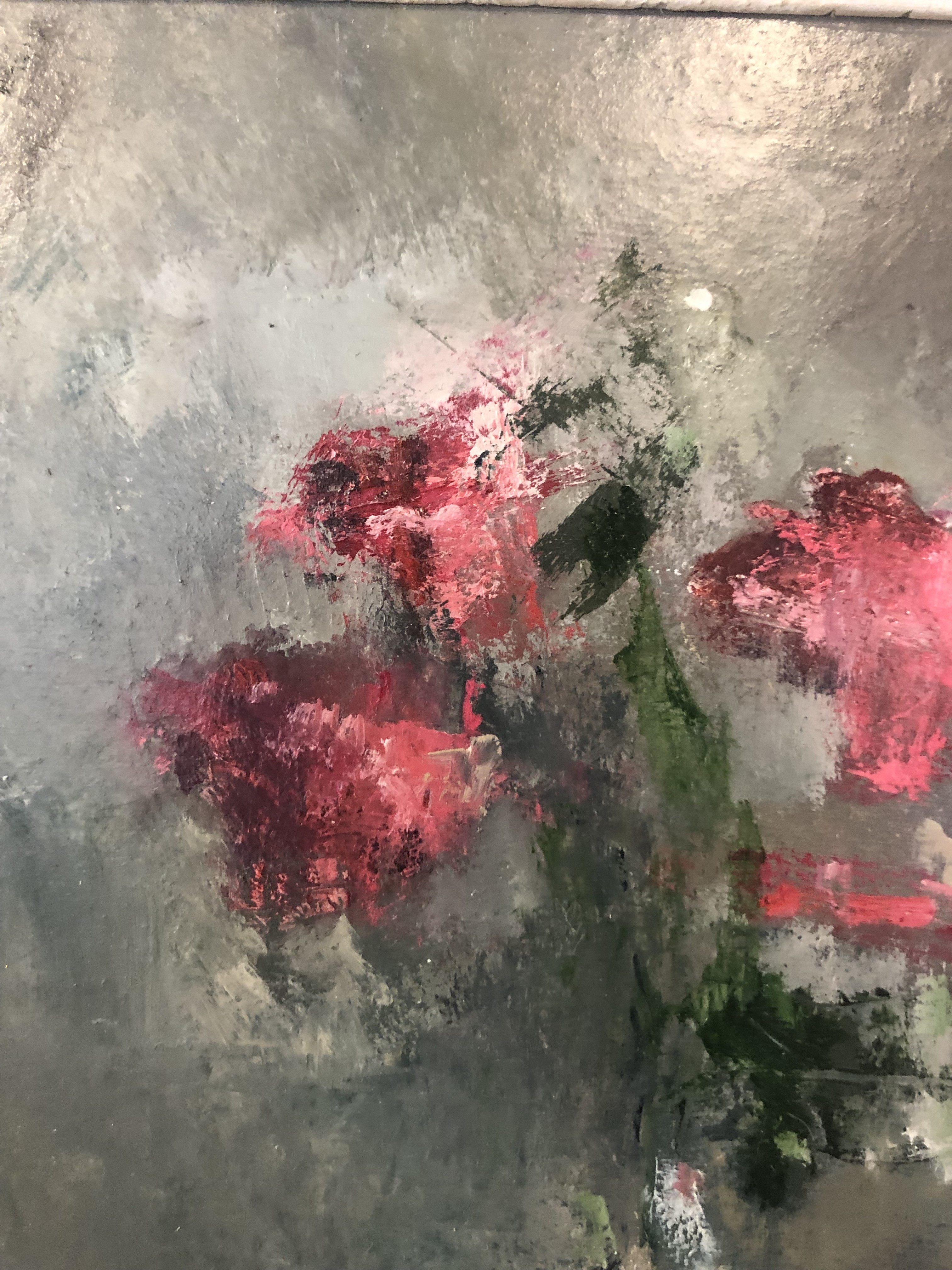 Jemma Powell's contemporary oil painting Pink Roses, painted in an impressionistic style and framed. Pictured here in detail