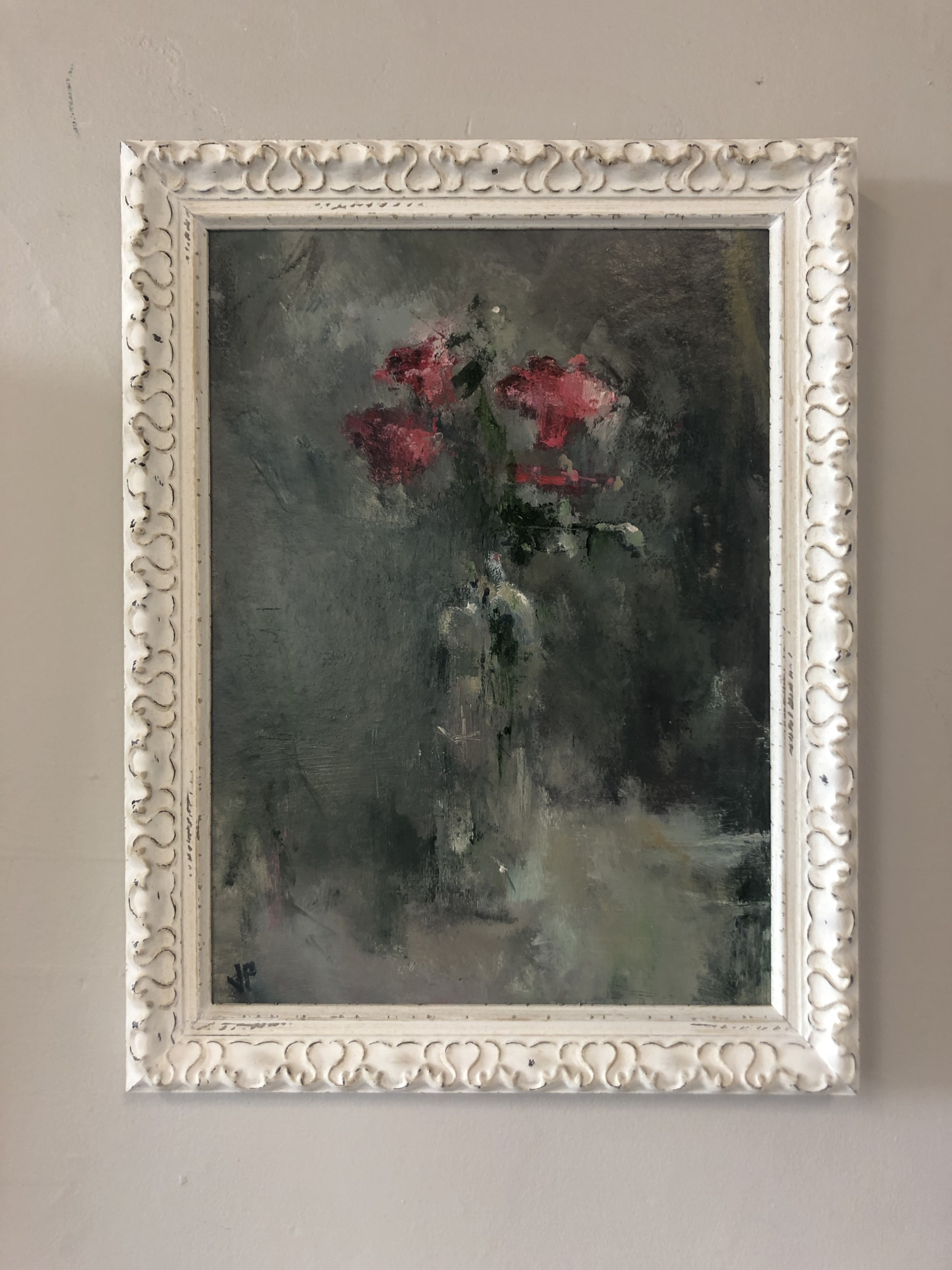Jemma Powell's contemporary oil painting Pink Roses, painted in an impressionistic style and framed.