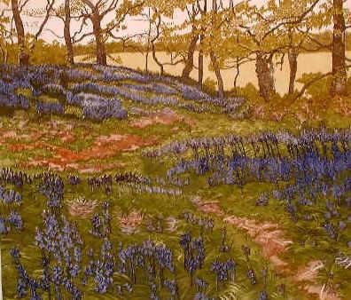 Jan dingle rough galde, blue, ornage, green, woodland walk print