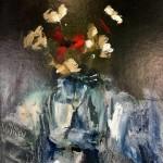 jemma powell red poppy in jam jar, original painting