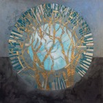 lorriane thorne abstact painting blue and gold  tree