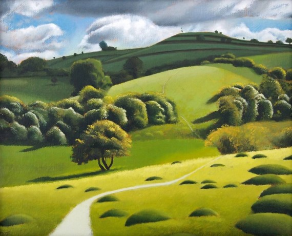 Tim Woodcock-Jones | Path to Pegston | Landscape painting hills