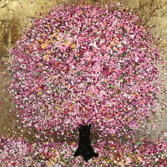 Nicky Chubb Bright Pink Treasure blossom painting