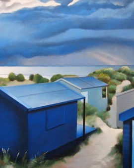 Tim Woodcock Jones | Blue Huts | Beach Painting