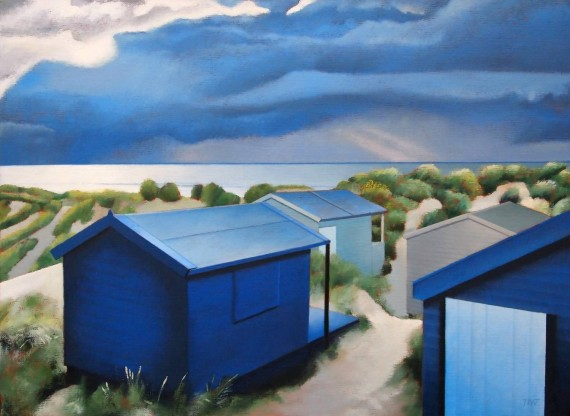 Tim Woodcock Jones | Blue Huts | Beach Painting