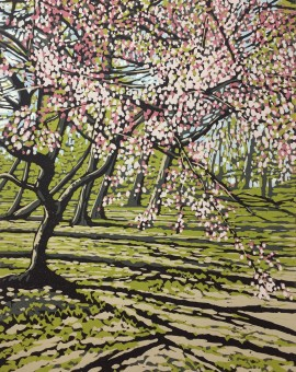 Alexandra Buckle - Batsford Blossom - tree woodland linocut print