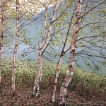 Alexandra Buckle - Grasmere Birches - trees lake district linocut print