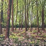Alexandra Buckle - Pinkbells - trees woodland bluebells linocut print