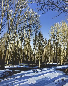 Alexandra Buckle - Woodland Snow - trees linocut print