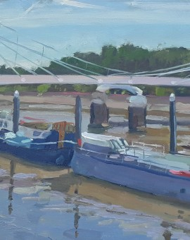 Lesley Dabson   Albert Bridge and Blue Sky  Wychwood Art