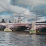 Lesley Dabson     Big Clouds over Blackfriars Bridge    Wychwood Art
