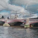 Lesley Dabson     Big Clouds over Blackfriars Bridge    Wychwood Art
