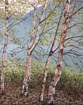 Grasmere Birches | Alexandra Buckle | Limited Edition Linocut Print