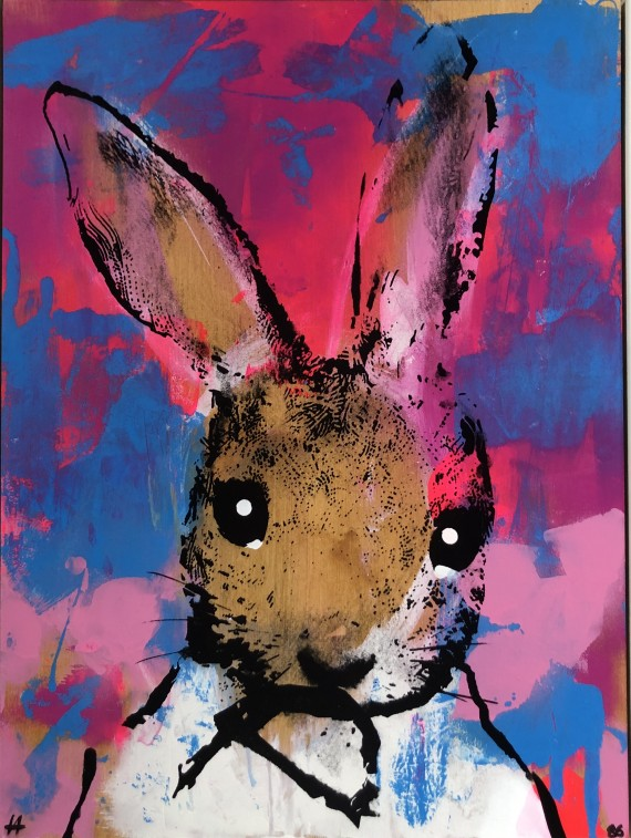 Sorry #86 by Harry Bunce. Rabbit with big eyes on pink and blue background.