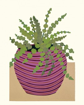 Kerry Day, Sedum Rubrotinctum lino print. Green leafed Sedum Rubrotinctum plant in a purple,stripey plant pot on a beige and white background.