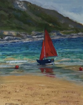 Peri Taylor Red Sails, South Sands, Salcombe Wychwood Art