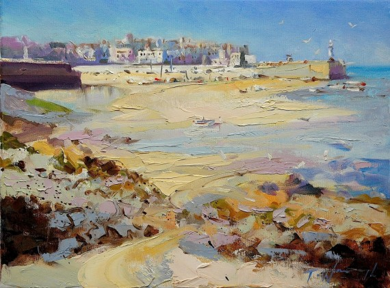 St Ives Cornwall painting for sale by Trevor Waugh . Beach painting