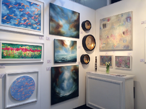 Part of Wychwood Art Gallery's stand at the Affordable Art Fair in Battersea, London