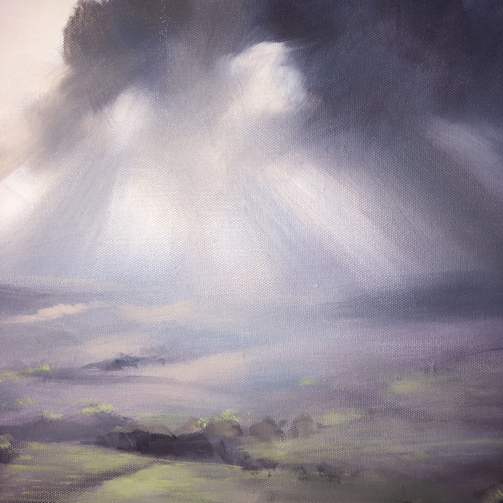 A Wiltshire Sky is an original contemporary oil painting. The impressionisitic style of the piece enhances the fresh, bright colours of the piece.